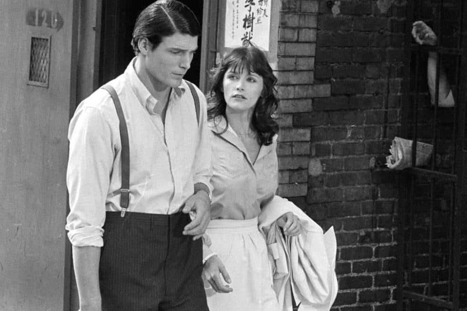 Margot Kidder y Christopher Reeve durante el rodaje de Superman, el 8 de julio de 1977. AP