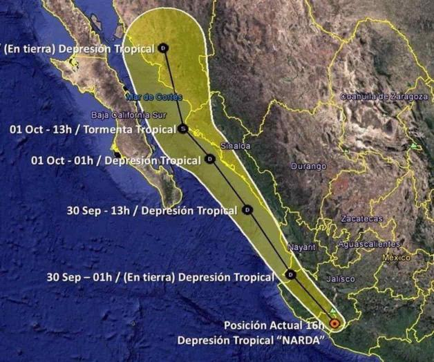 Se degrada Narda a depresión tropical